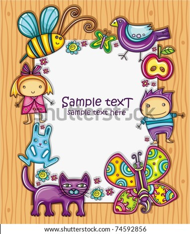 Lovely spring composition on wooden background with space for your text, surrounded by colorful flowers, apple and butterflies, bumblebee, bird, cat and bunny. Two little cute kids girl and boy.