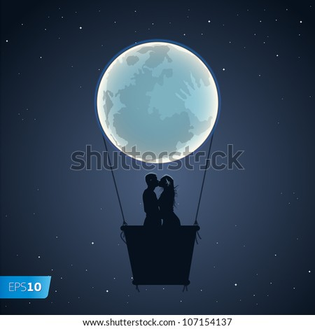 Lovers by a hot air balloon in the form of the moon, vector Eps10 illustration.