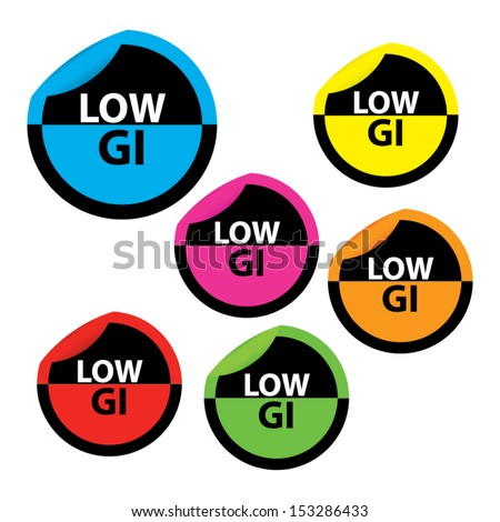 Low Glycemic Index (GI) food labels in colorful circle sticker.
