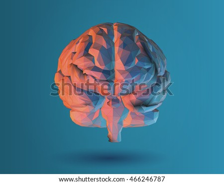 Low poly 3D brain illustration for graphic design on blue background