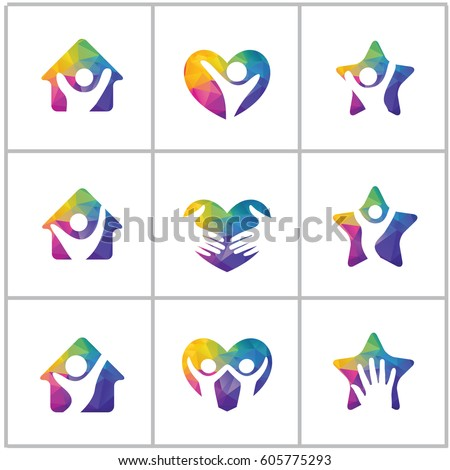 Low poly Happy home logo designs  Happy family  Health and care icons  LowHuman Heart Logo Design Happy People Stock Vector 604534523  . Home Health Care Logo Design. Home Design Ideas