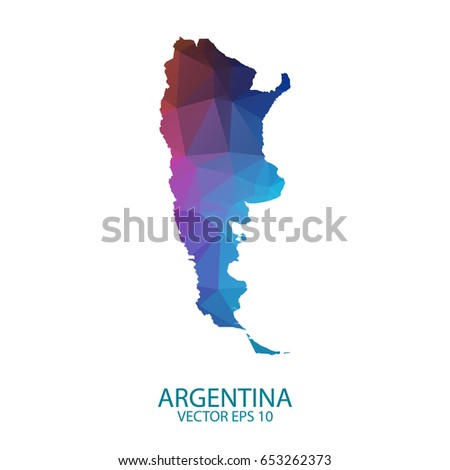 High Detailed Blue Map Argentina Vector Stock Vector - Argentina map shape