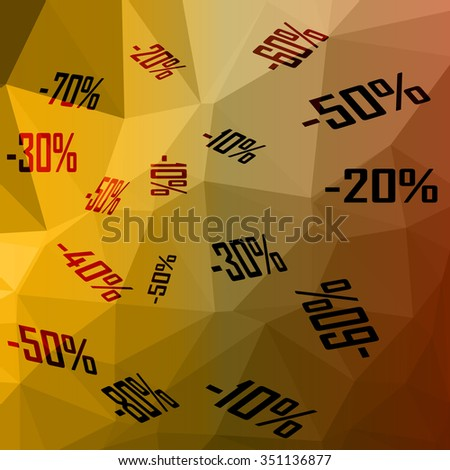 low poly vector illustration sale various percentages
