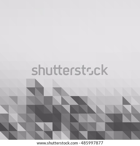 low polygon pixel mosaic, white and black color, hight key grayscale, abstract vector background