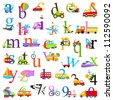 Lowercase and Numbers Transportation Alphabet - matches Uppercase Alphabet in Portfolio - stock vector