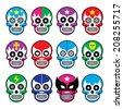 Lucha Libre - sugar skull masks icons  - stock vector