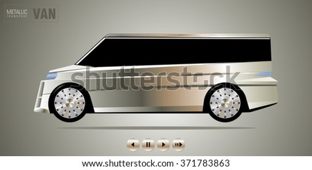 Luxury expensive passengers minivan vehicle with a metal-plated coating on shiny metallic background. Unique individual design. Vector illustration