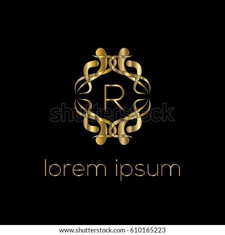Luxury golden vector logo design letter R  Stylish border. Luxury Golden Vector Logo Design Letter Stock Vector 610165205