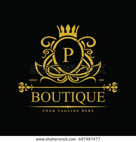 Royal brand king logo crown logor stock vector 380040409 for Luxury hotel logo