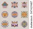 Luxury Royal Insignias Retro Design Color Logotypes Template Color Set 2. Line Art Vector Vintage Style Elements. Elegant Geometric Shiny Frames.