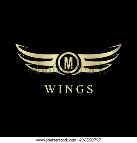 D Wings Gold W Logo Vector Stock Vector  Shutterstock - Car sign with wings