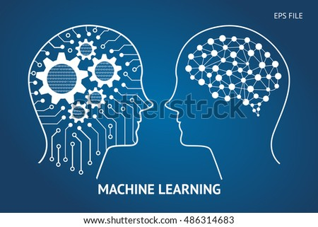 Machine learning and artificial intelligence concept. Robot and human graphic , gears ,binary coded and electrical circuit and binary coded . Blue background.