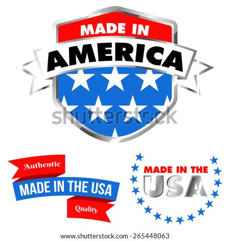 Made in America Shield and Made in the USA Banner - Isolated