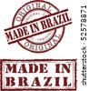 made in brazil stamp with red ink - stock vector