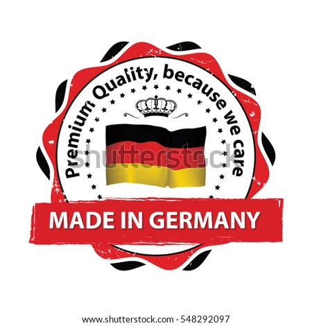 Made in Germany, Premium Quality, because we care - stamp / label / icon with the map and flag of Germany. Print colors used