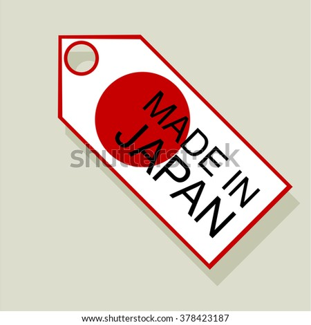Made in japan tag. Flat design business financial marketing banking marketing advertising web minimal concept illustration.
