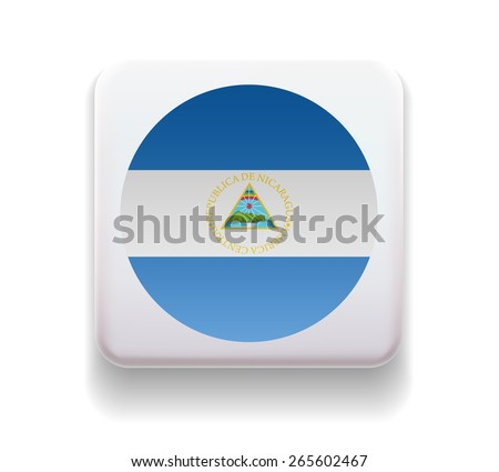 made in the form of a computer button for the web site. The national of the country. Illustration. Image. Icon. Vector. Flag of Nicaragua