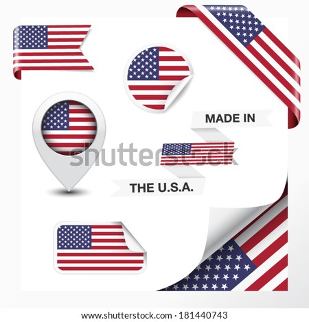 Made in The USA collection of ribbon, label, stickers, pointer, icon and page curl with United States Of America  flag symbol on design element. Vector EPS 10 illustration on white background.