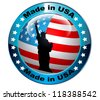 Made in USA flag globe button.Vector - stock vector