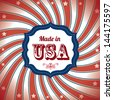 made in usa over flag background vector illustration - stock