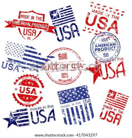Made in USA. Set of grunge stamps