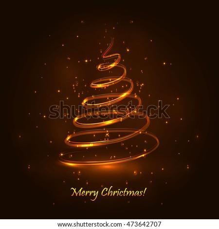 Magic Christmas Tree Light Blue Background Stock Vector 473638738 ...