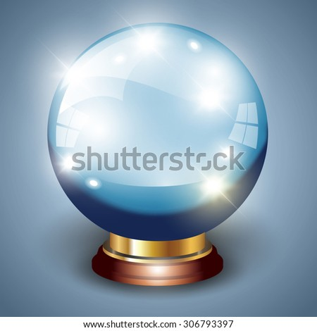 Magic crystal ball isolated over background. Vector illustration