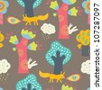 Magic forest. Seamless pattern in cartoon style. - stock photo