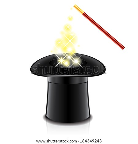 Magic hat and wand isolated photo-realistic vector illustration