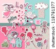 magic love scrapbook set - stock vector