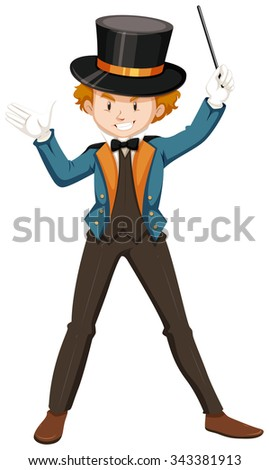 Magician in blue suit illustration