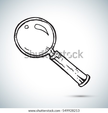 Magnifier freehand drawing vector illustration