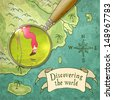 magnifier showing beautiful nature on the old map, vector illustration, eps10 - stock photo