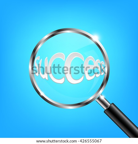 Magnifying Glass Focus Success on Blue Background Vector Illustration