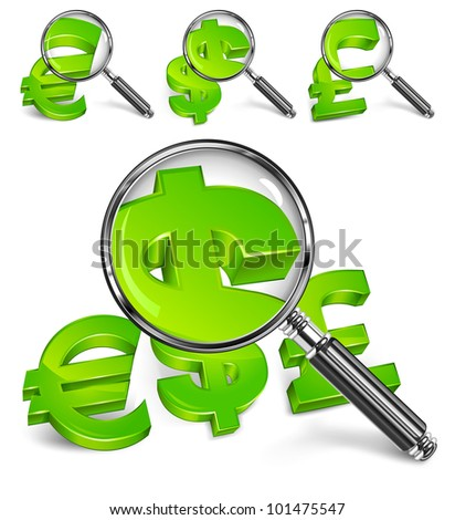 Magnifying glass for zooming green money symbol, vector illustration
