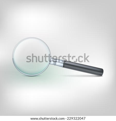 Magnifying glass isolated on white, photo-realistic vector illustration