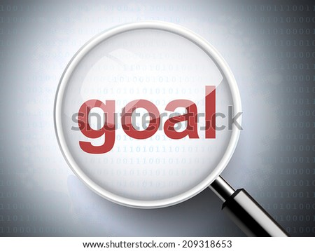 magnifying glass with the word goal on digital background