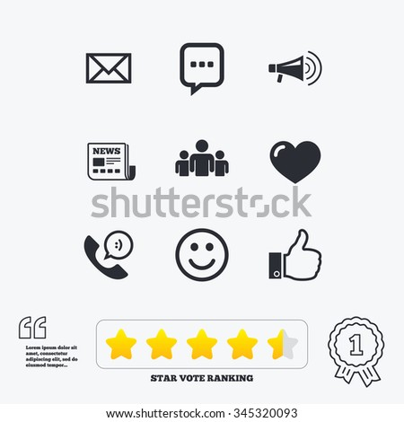 Mail, news icons. Conference, like and group signs. E-mail, chat message and phone call symbols. Star vote ranking. Award achievement and quotes.