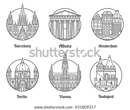 Main Europe Cities Icons Including Barcelona Athens Amsterdam Berlin Vienna And Budapest