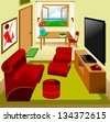 main saloon in the apartment; furnished, vector - stock vector