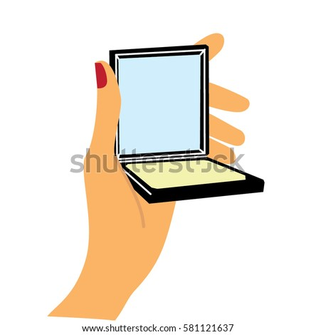 woman holding hand mirror. Please Dont Touch Sign Hand On Stock Vector 438464866 . Woman Holding Mirror