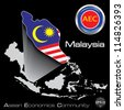 Malaysia in Asean Economic Community, AEC, Vector - stock photo
