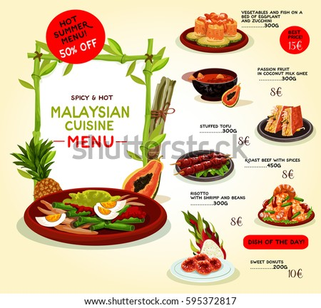 Malaysian cuisine restaurant banner set seafood stock for Asia asian cuisine menu