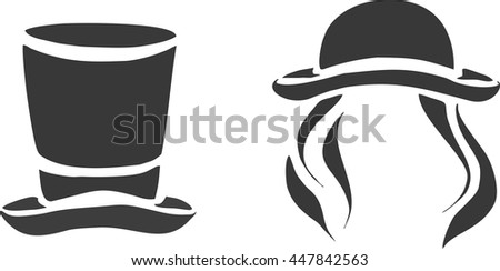 Male and female icon symbol hat in retro style