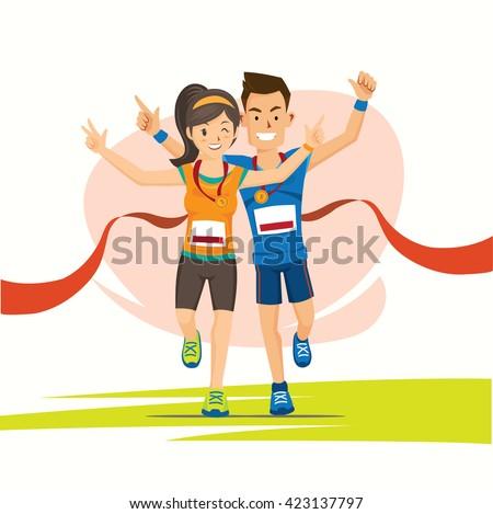 Male Female Runner Cross Finish Line Stock Vector ...