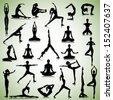 Male and female silhouettes of yogi - stock