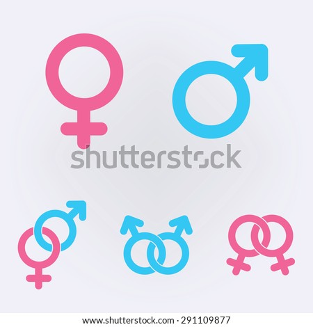 Male and female symbols . Vector illustration .