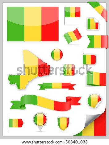 Mali Flag Set - Vector Collection