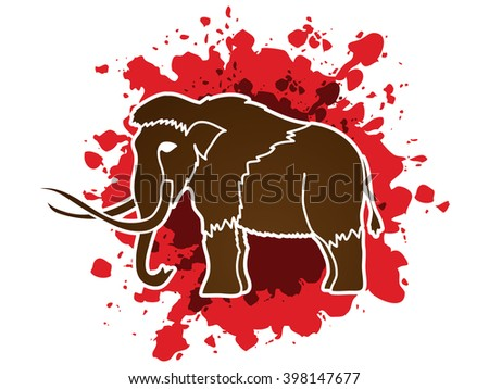 Mammoth designed on splash blood background graphic vector.