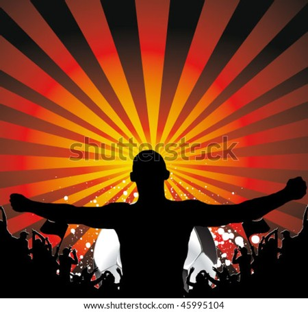 man and the fans crowd - football poster
